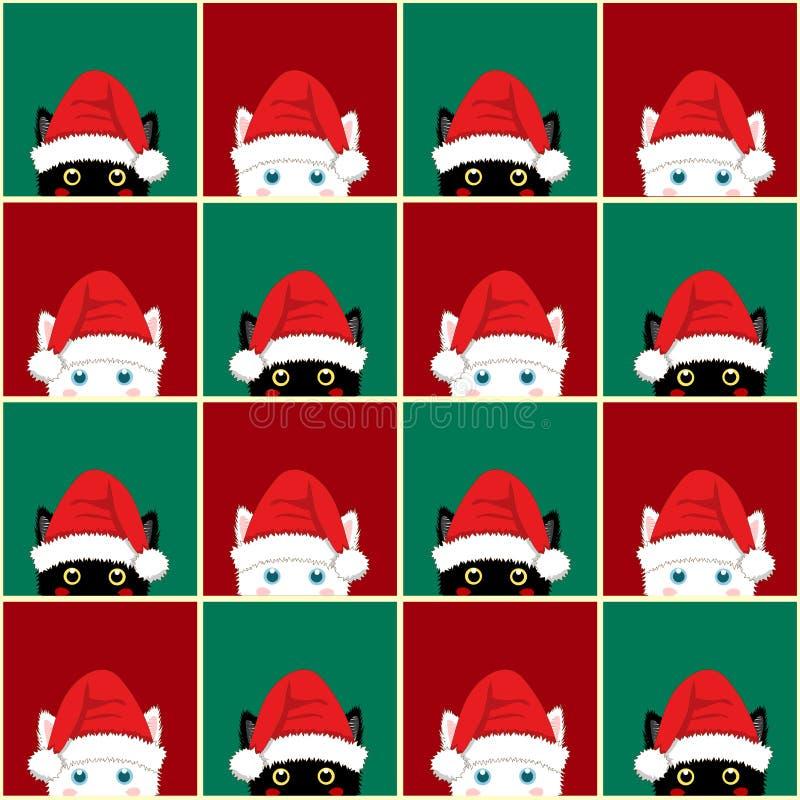 Μαύρο άσπρο κόκκινο πράσινο υπόβαθρο Χριστουγέννων πινάκων σκακιού γατών seamless ελεύθερη απεικόνιση δικαιώματος