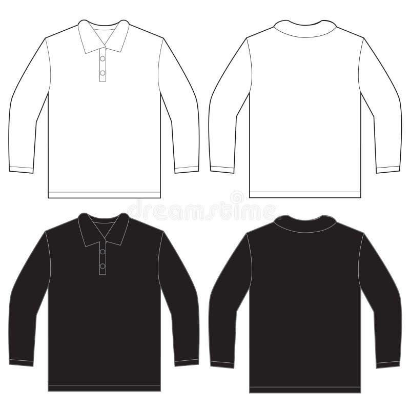 Μαύρο άσπρο μακρύ πρότυπο σχεδίου πουκάμισων πόλο μανικιών διανυσματική απεικόνιση