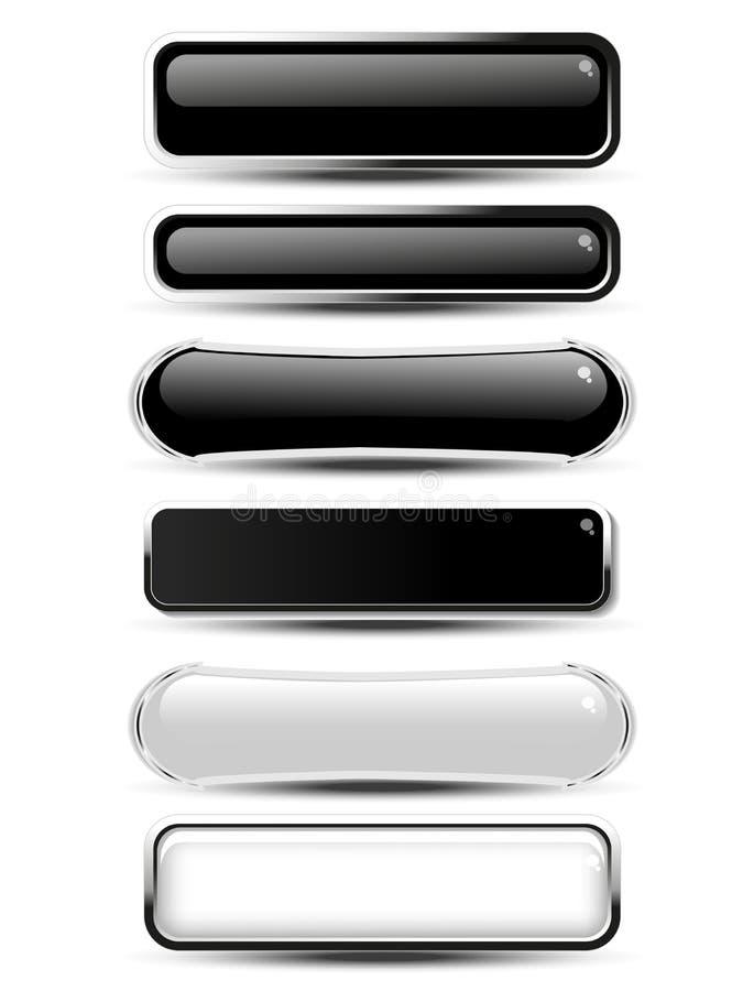 Μαύρο, άσπρο ορθογώνιο και ωοειδή κουμπιά για τον ιστοχώρο ή app Οι κενές μονοχρωματικές ετικέτες για το κείμενο αγοράζουν τώρα,  διανυσματική απεικόνιση