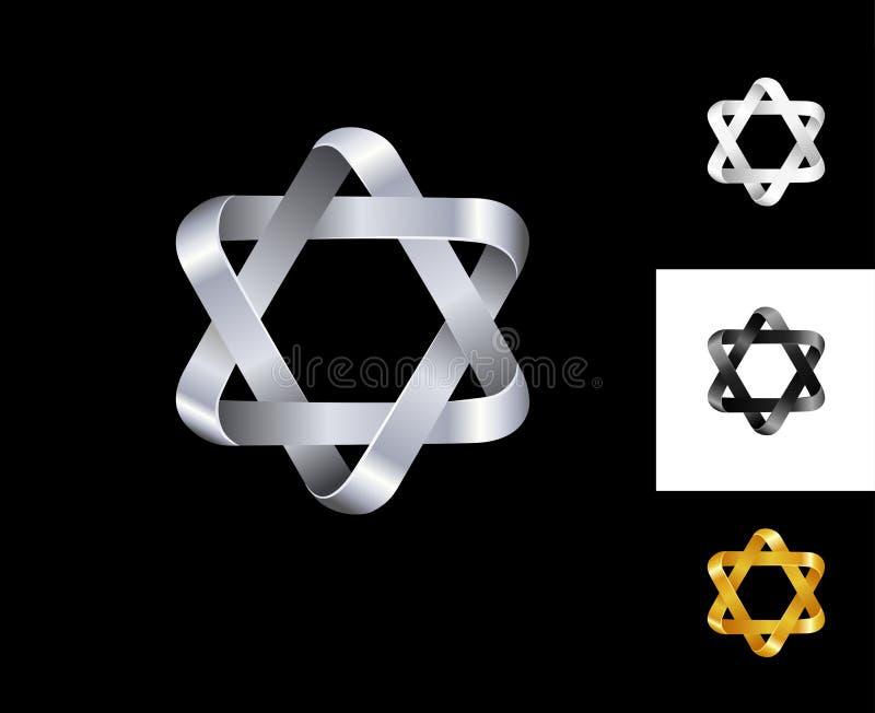 Μαύρο άσπρο χρυσό ασήμι προτύπων σχεδίου λογότυπων αστεριών έξι-σημείου διανυσματική απεικόνιση