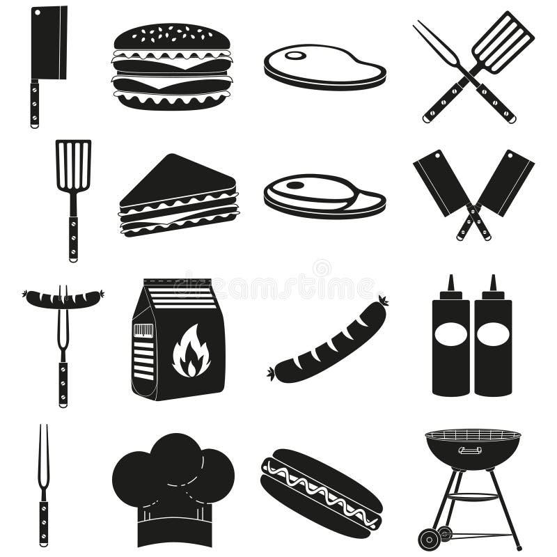 Μαύρο άσπρο bbq υπαίθρια σύνολο σκιαγραφιών 16 στοιχείων απεικόνιση αποθεμάτων