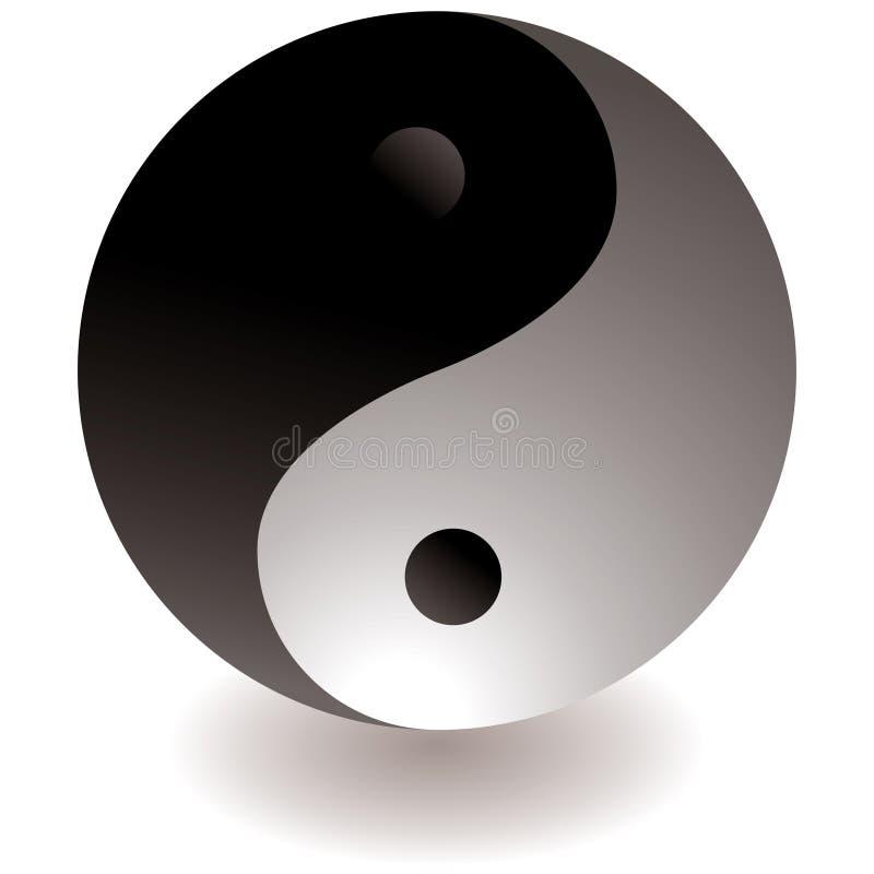 μαύρο άσπρο yang ying διανυσματική απεικόνιση