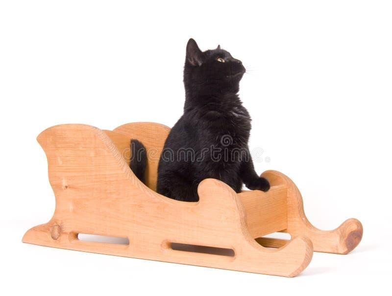 Download μαύρο έλκηθρο συνεδρίασης γατών ξύλινο Στοκ Εικόνα - εικόνα από χειμώνας, χριστούγεννα: 1545379