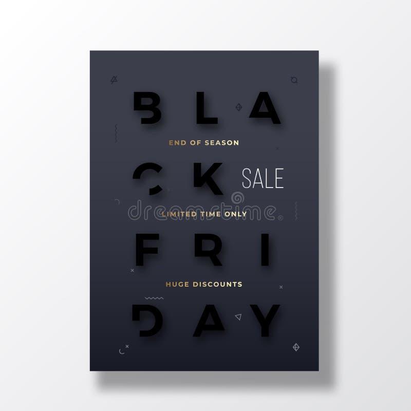 Μαύρο έμβλημα τυπογραφίας Παρασκευής μοντέρνο, αφίσα ή πρότυπο Flayer Ο δημιουργικός Μαύρος στη μαύρη μειωμένη έννοια επιστολών ελεύθερη απεικόνιση δικαιώματος