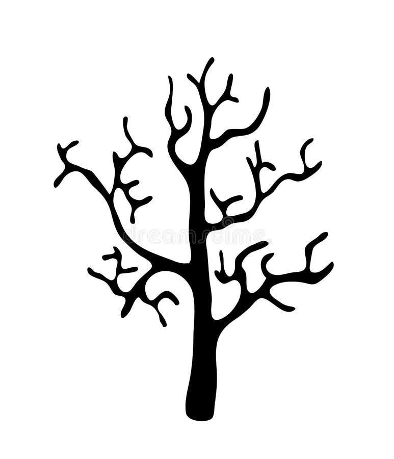 Μαύρο δέντρο χωρίς φύλλα, διάνυσμα ελεύθερη απεικόνιση δικαιώματος