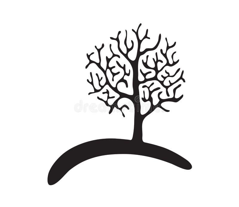 Μαύρο δέντρο χωρίς φύλλα, διάνυσμα διανυσματική απεικόνιση