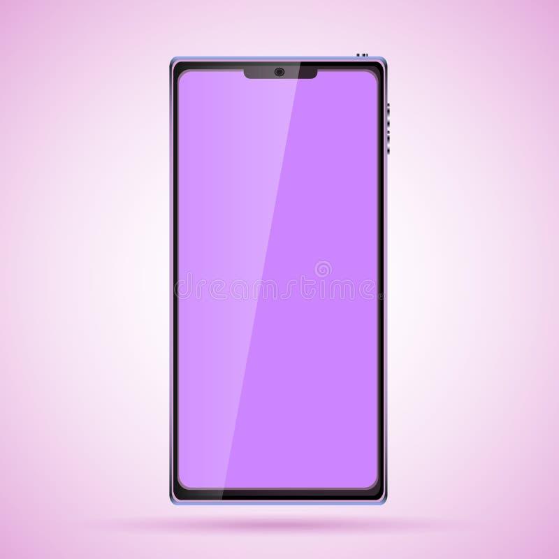 Μαύρο έξυπνο ακριβό κινητό τηλεφωνικό smartphone πολυτέλειας με μια στιλπνή οθόνη γυαλιού αφής, σύγχρονο ρεαλιστικό κινητό διάνυσ διανυσματική απεικόνιση