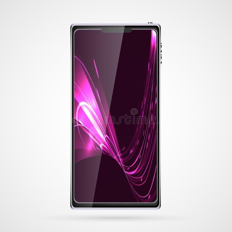 Μαύρο έξυπνο κινητό τηλεφωνικό smartphone με την οθόνη αφής, σύγχρονη ρεαλιστική κινητή συσκευή με την αφηρημένη μαγική ενέργεια  ελεύθερη απεικόνιση δικαιώματος
