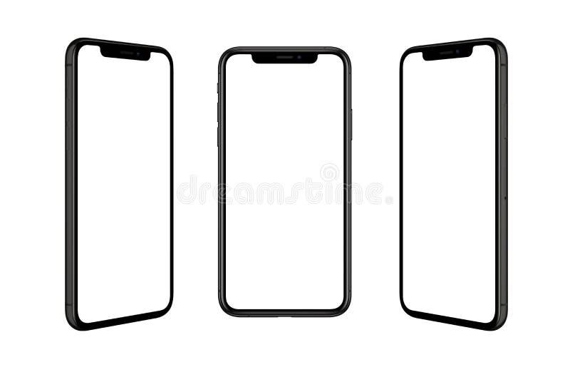 Μαύρο έξυπνο τηλέφωνο που απομονώνεται σε τρεις θέσεις Απομονωμένη οθόνη για το πρότυπο στοκ εικόνα