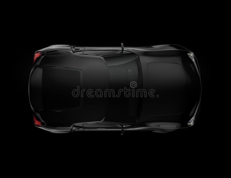 Μαύρο αθλητικό αυτοκίνητο που απομονώνεται στο μαύρο υπόβαθρο απεικόνιση αποθεμάτων