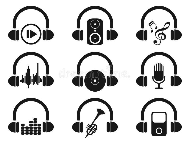 Μαύρο ακουστικό με τα εικονίδια μουσικής καθορισμένα απεικόνιση αποθεμάτων