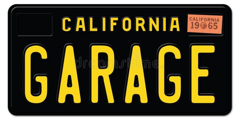 Μαύρο αναδρομικό γκαράζ πινακίδων αριθμού κυκλοφορίας Καλιφόρνιας απεικόνιση αποθεμάτων