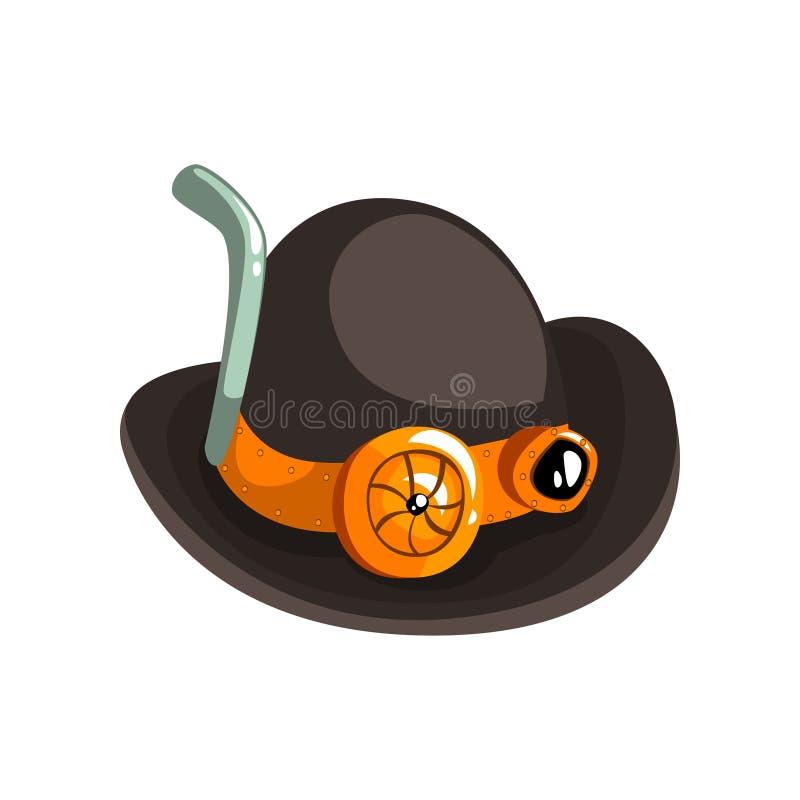 Μαύρο αναδρομικό καπέλο Steampunk, παλαιά μηχανική συσκευή ή διανυσματική απεικόνιση μηχανισμών σε ένα άσπρο υπόβαθρο διανυσματική απεικόνιση