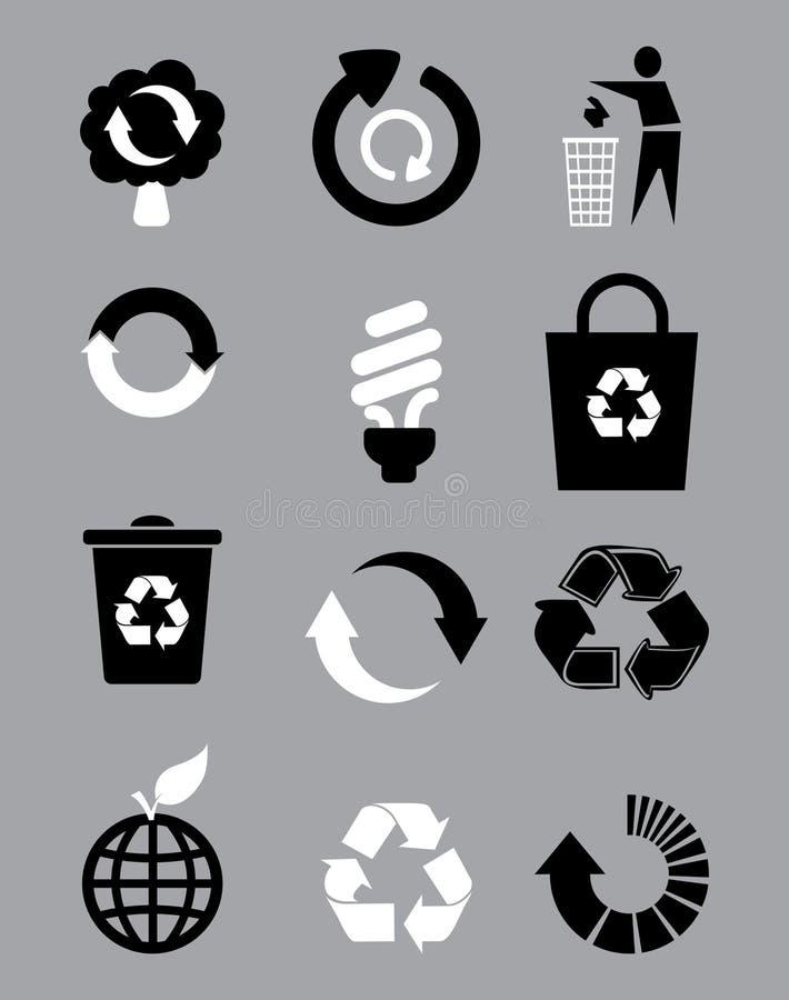 μαύρο ανακύκλωσης λευκό απεικόνιση αποθεμάτων
