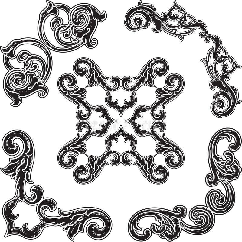 Μαύρο αναδρομικό τέχνης σύνολο στοιχείων γωνιών λεπτό διανυσματική απεικόνιση