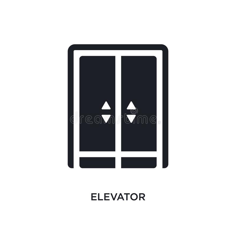 μαύρο απομονωμένο ανελκυστήρας διανυσματικό εικονίδιο απλή απεικόνιση στοιχείων από τα διανυσματικά εικονίδια έννοιας ξενοδοχείων ελεύθερη απεικόνιση δικαιώματος