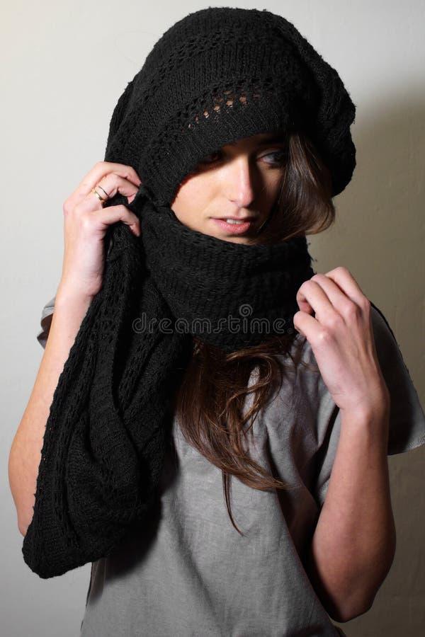 μαύρο απομονωμένο γυναικείο πορτρέτο στοκ εικόνα