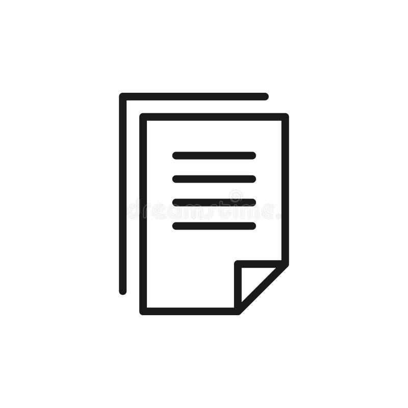 Μαύρο απομονωμένο εικονίδιο περιλήψεων του αντιγράφου του κενού, έγγραφο, έγγραφο στο άσπρο υπόβαθρο Εικονίδιο γραμμών του αντιγρ διανυσματική απεικόνιση