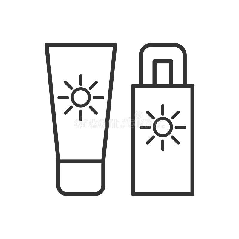Μαύρο απομονωμένο εικονίδιο περιλήψεων sunscreen στο άσπρο υπόβαθρο Εικονίδιο γραμμών του φραγμού ήλιων διανυσματική απεικόνιση