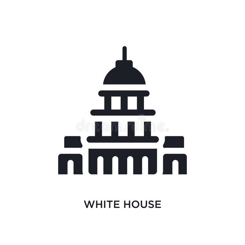 μαύρο απομονωμένο Λευκός Οίκος διανυσματικό εικονίδιο απλή απεικόνιση στοιχείων από τα διανυσματικά εικονίδια Ηνωμένης έννοιας Λε ελεύθερη απεικόνιση δικαιώματος