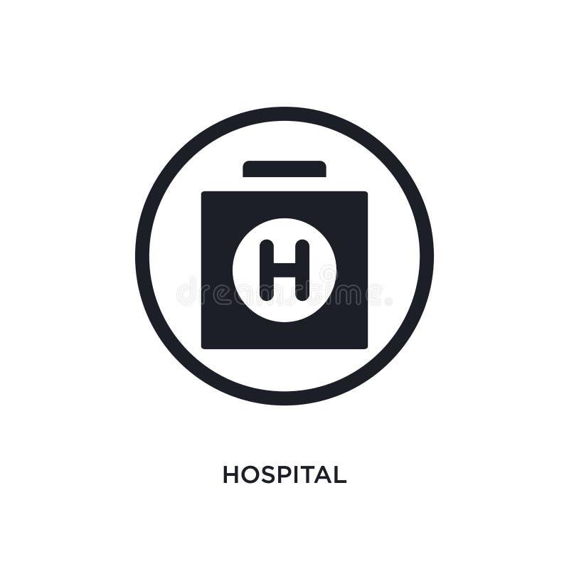 μαύρο απομονωμένο νοσοκομείο διανυσματικό εικονίδιο απλή απεικόνιση στοιχείων από τα διανυσματικά εικονίδια έννοιας σημαδιών κυκλ ελεύθερη απεικόνιση δικαιώματος
