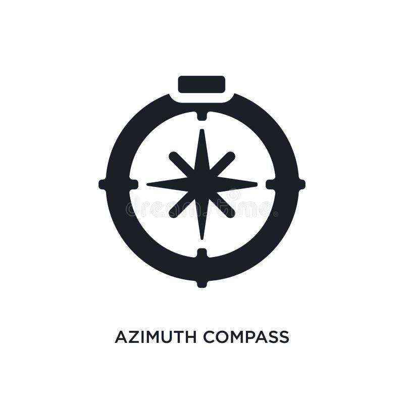 μαύρο απομονωμένο πυξίδα διανυσματικό εικονίδιο αζιμουθίου απλή απεικόνιση στοιχείων από τα ναυτικά διανυσματικά εικονίδια έννοια διανυσματική απεικόνιση