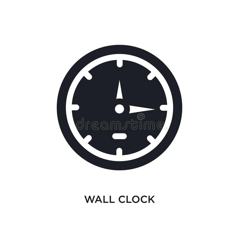 μαύρο απομονωμένο ρολόι διανυσματικό εικονίδιο τοίχων απλή απεικόνιση στοιχείων από τα διανυσματικά εικονίδια έννοιας επίπλων & ο διανυσματική απεικόνιση