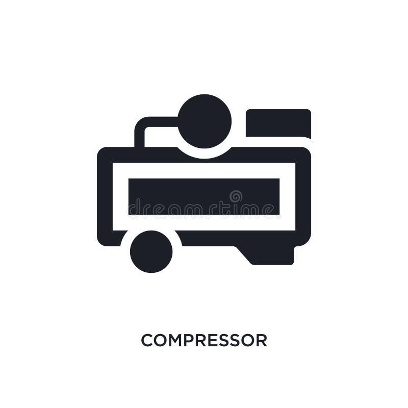 μαύρο απομονωμένο συμπιεστής διανυσματικό εικονίδιο απλή απεικόνιση στοιχείων από τα διανυσματικά εικονίδια έννοιας βιομηχανίας e διανυσματική απεικόνιση