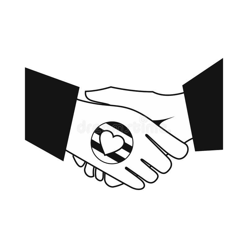 Μαύρο απλό εικονίδιο ουράνιων τόξων χειραψιών ομοφυλοφιλικό ελεύθερη απεικόνιση δικαιώματος