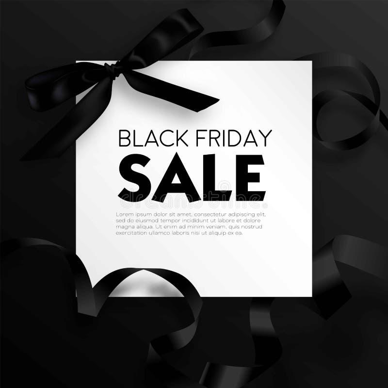 Μαύρο αφίσα προσφοράς promo έκπτωσης πώλησης Παρασκευής ή ιπτάμενο και δελτίο διαφήμισης διανυσματική απεικόνιση