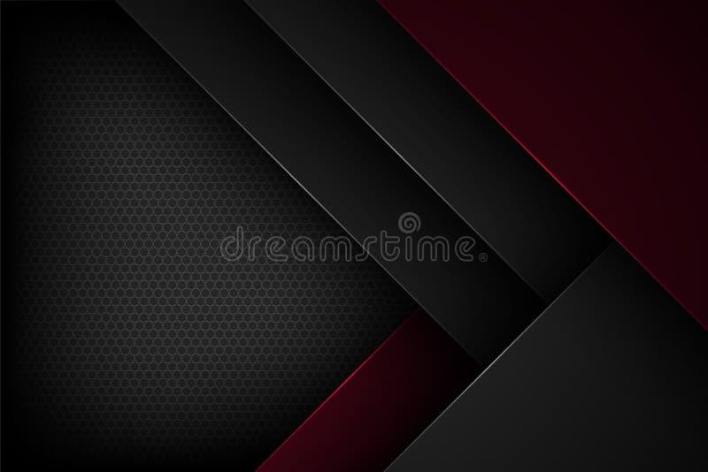 Μαύρο αφηρημένο διανυσματικό υπόβαθρο με τα επικαλύπτοντας χαρακτηριστικά στοκ εικόνα