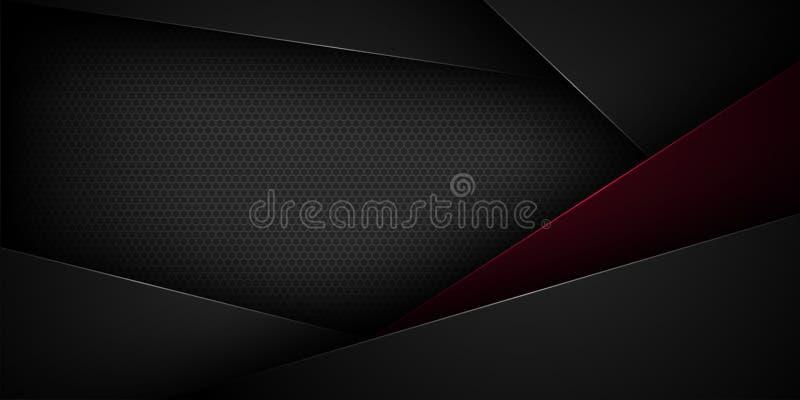 Μαύρο αφηρημένο διανυσματικό υπόβαθρο με τα επικαλύπτοντας χαρακτηριστικά στοκ εικόνα με δικαίωμα ελεύθερης χρήσης