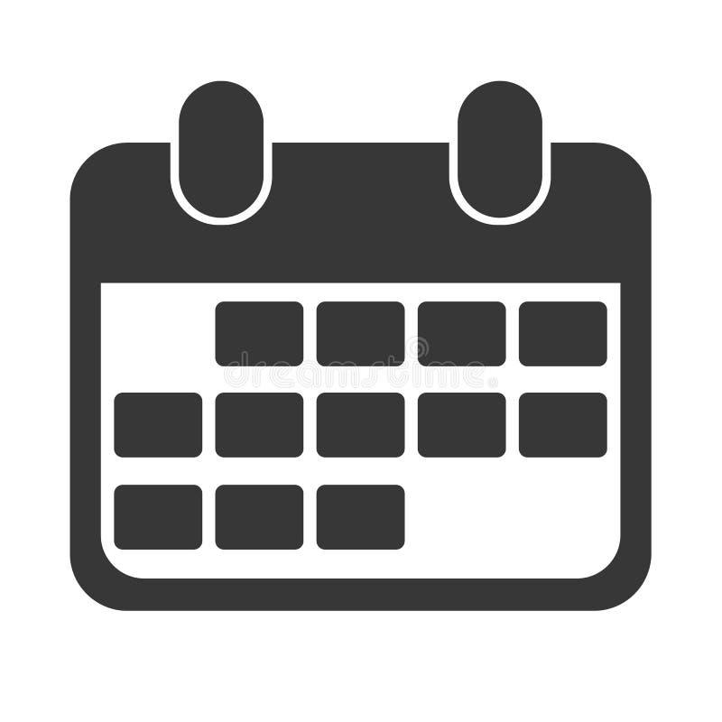 Μαύρο αφηρημένο ημερολογιακό εικονίδιο σχεδίου για την επιχείρηση απεικόνιση αποθεμάτων