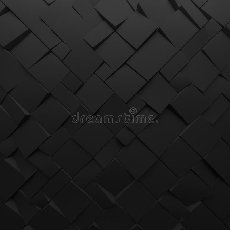 Μαύρο αφηρημένο σκηνικό τετραγώνων Γεωμετρικά πολύγωνα, ως τοίχο κεραμιδιών στοκ φωτογραφίες