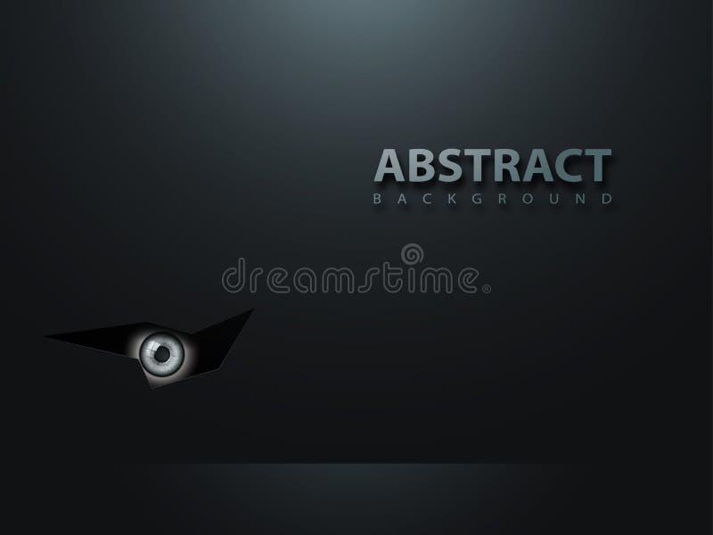 Μαύρο αφηρημένο σύγχρονο υπόβαθρο Το μάτι κοιτάζει από το σκοτάδι διανυσματική απεικόνιση