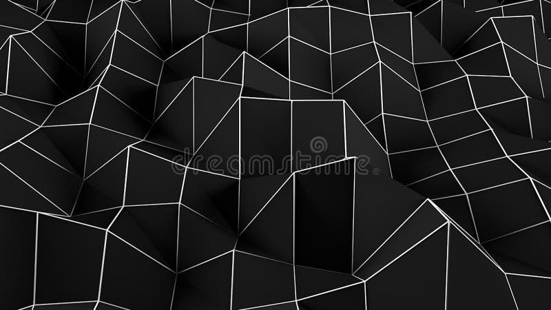 Μαύρο αφηρημένο Polygonal υπόβαθρο Ψηφιακή απεικόνιση διανυσματική απεικόνιση