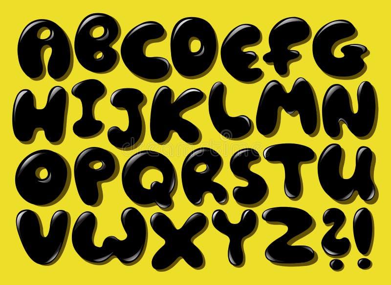 Μαύρο αλφάβητο φυσαλίδων ελεύθερη απεικόνιση δικαιώματος