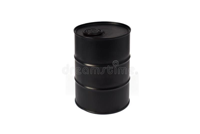 Μαύρο βαρέλι μετάλλων με το πετρέλαιο στοκ φωτογραφία με δικαίωμα ελεύθερης χρήσης