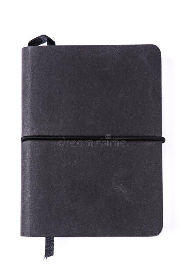 Μαύρο βιβλίο σημειώσεων που απομονώνεται στο άσπρο υπόβαθρο στοκ εικόνες