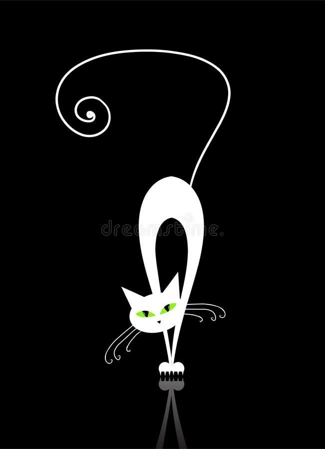 μαύρο γατών λευκό σκιαγρ&alp διανυσματική απεικόνιση