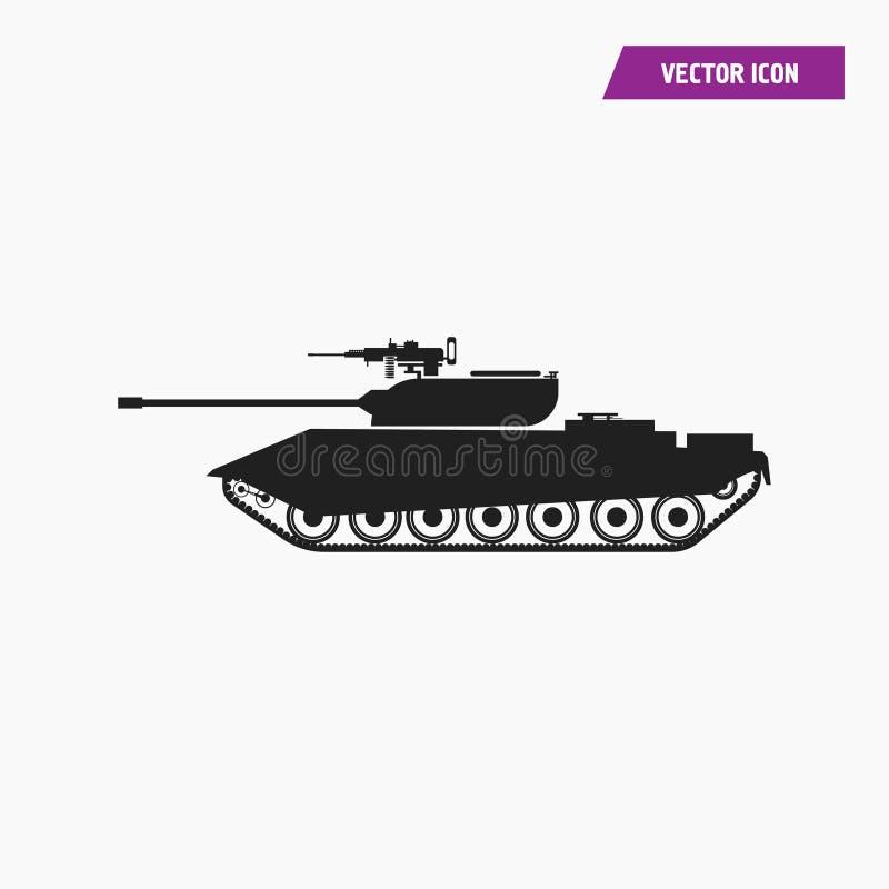 Μαύρο γεμισμένο πυροβολικό, στρατιωτικό εικονίδιο δεξαμενών απεικόνιση αποθεμάτων