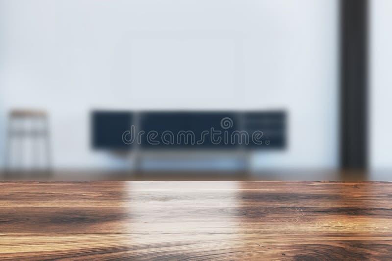 Μαύρο γραφείο στο καθιστικό που θολώνεται ελεύθερη απεικόνιση δικαιώματος