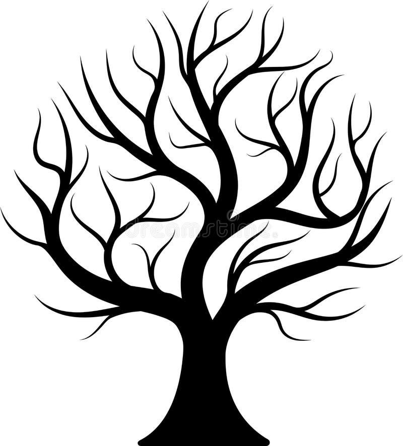 Μαύρο γυμνό δέντρο σκιαγραφιών στοκ εικόνα