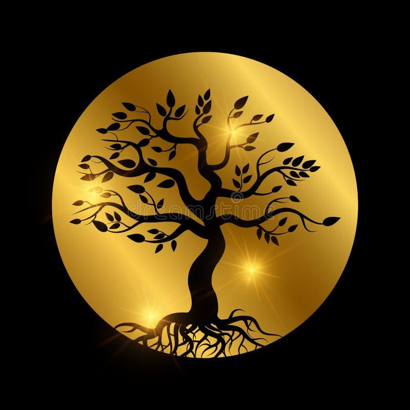 Μαύρο δέντρο με τη σκιαγραφία ριζών με τα λαμπρά στοιχεία ελεύθερη απεικόνιση δικαιώματος