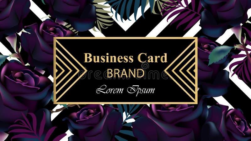 Μαύρο διάνυσμα καρτών πολυτέλειας τριαντάφυλλων Όμορφη απεικόνιση για την πρόσκληση, το γάμο, το βιβλίο εμπορικών σημάτων, τη επα απεικόνιση αποθεμάτων