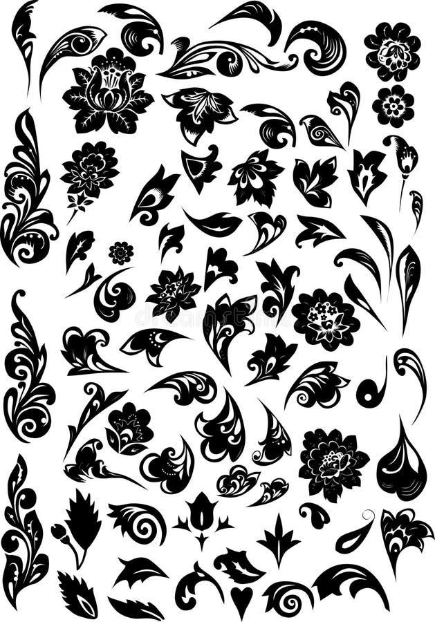 μαύρο διακοσμημένο φύλλω&mu διανυσματική απεικόνιση