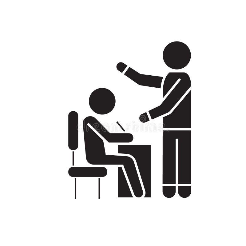 Μαύρο διανυσματικό εικονίδιο έννοιας διαδικασίας, σπουδαστών και δασκάλων διδασκαλίας Διαδικασία, σπουδαστής και δάσκαλος διδασκα απεικόνιση αποθεμάτων