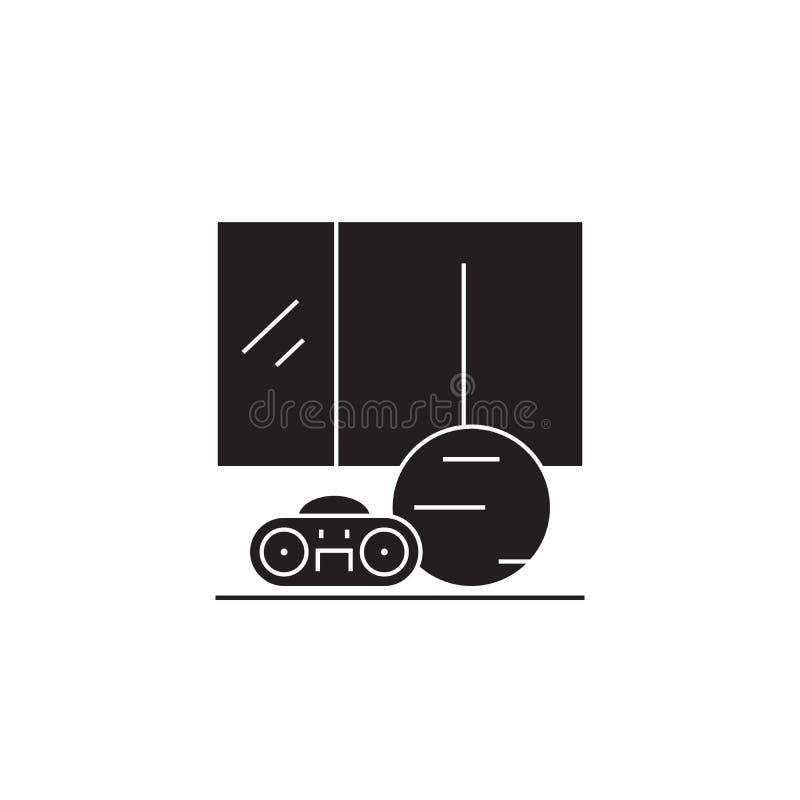Μαύρο διανυσματικό εικονίδιο έννοιας δωματίων χορού μουσικής Επίπεδη απεικόνιση δωματίων χορού μουσικής, σημάδι ελεύθερη απεικόνιση δικαιώματος
