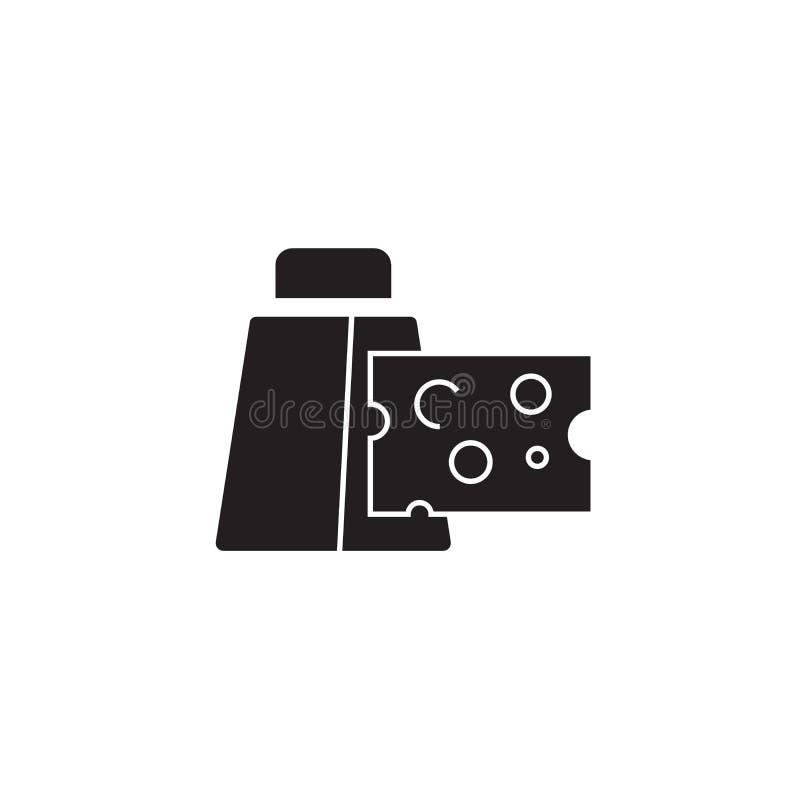 Μαύρο διανυσματικό εικονίδιο έννοιας ξυστών κουζινών Επίπεδη απεικόνιση ξυστών κουζινών, σημάδι απεικόνιση αποθεμάτων