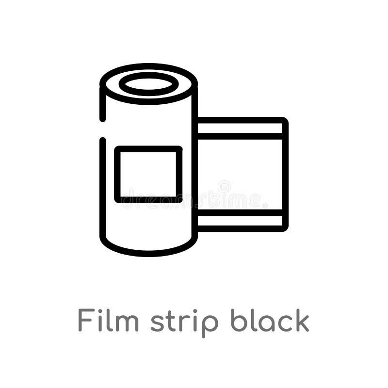 μαύρο διανυσματικό εικονίδιο λουρίδων ταινιών περιλήψεων απομονωμένη μαύρη απλή απεικόνιση στοιχείων γραμμών από την έννοια κινημ ελεύθερη απεικόνιση δικαιώματος